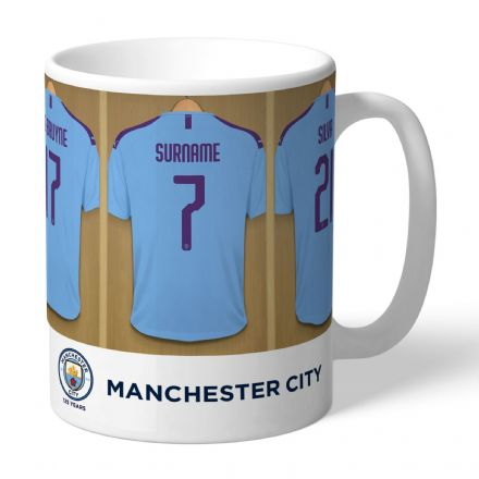 Personalised Manchester City FC Dressing Room Football  Mug